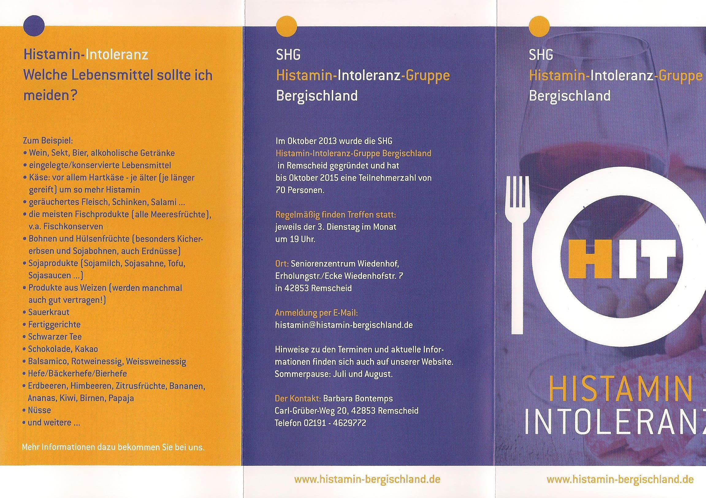 Histamin Intoleranz Selbsthilfegruppe Bergischland